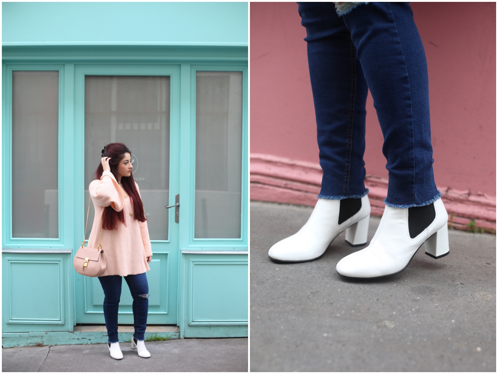 boots blanches retro